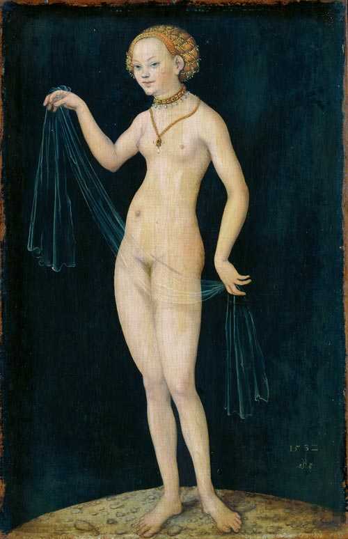 Lucas Cranach the Elder, <em>Venus,</em> 1532. Oil and tempera on red beechwood, 37.7 x 24.5 cm. Staedel Museum, Frankfurt am Main. Photo ©  Jochen Beyer, Village-Neuf