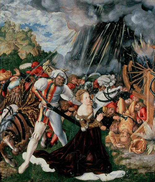 Lucas Cranach the Elder. <em>The Martyrdom of St Catherine, </em>c. 1506. Oil and tempera on limewood panel, 112 x 95 cm. Raday Library, Budapest