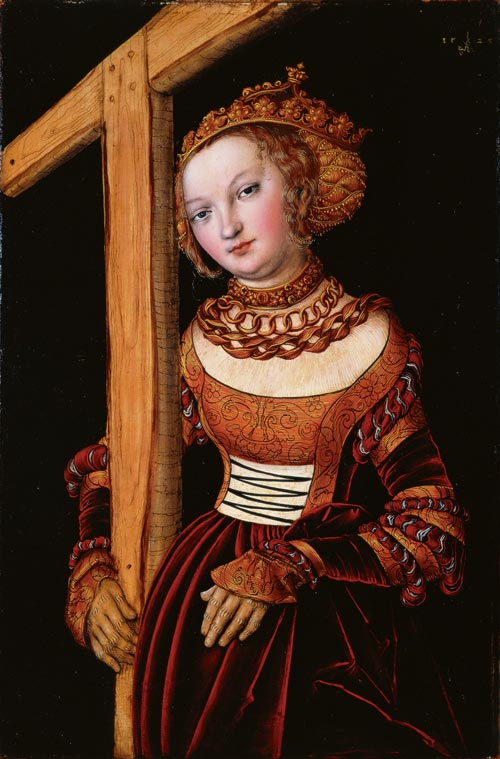 Lucas Cranach the Elder. <em>St Helena with the True Cross,</em> 1525. Oil and tempera on red beechwood panel, 40 x 27 cm. Cincinnati Art Museum, bequest of Mary E Emery