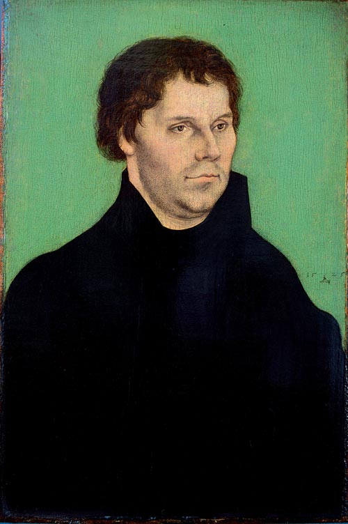 Lucas Cranach the Elder. <em>Portrait of Martin Luther,</em> 1525. Oil on wood, 40 x 26.6 cm. Bristol Museums &amp; Art Gallery