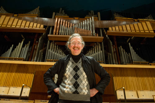 Martin Creed with the newly refurbished Royal Festival Hall Organ, 2014. Photograph © Alastair Muir.