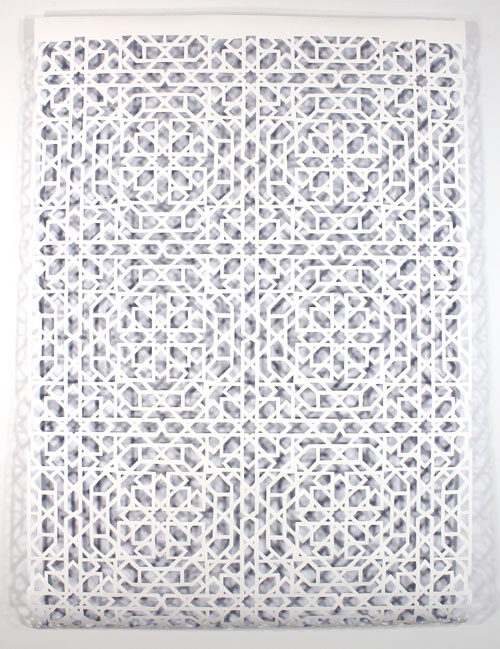 Reni Gower. Papercuts: White/cobalt, 2013. Acrylic on hand cut paper, 206 cm x 142 cm. Photograph: Reni Gower.
