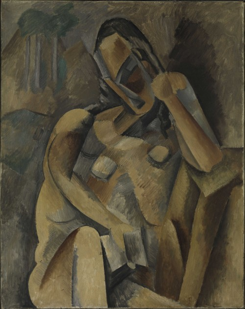 Pablo Picasso. Woman with a Book, Paris, spring 1909. Oil on canvas, 36 1/4 x 28 3/4 in (92.1 x 73 cm). Promised Gift from the Leonard A. Lauder Cubist Collection. © 2014 Estate of Pablo Picasso/Artists Rights Society (ARS), New York.