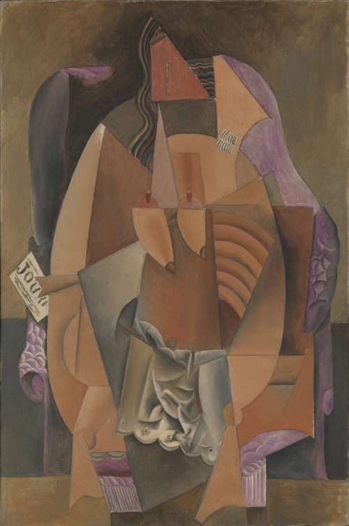 Pablo Picasso. Woman in a Chemise in an Armchair, Paris, late 1913–early 1914. Oil on canvas, 59 x 39 1/8 in (149.9 x 99.4 cm). Promised Gift from the Leonard A. Lauder Cubist Collection. © 2014 Estate of Pablo Picasso/Artists Rights Society (ARS), New York.