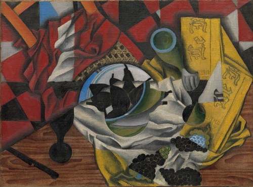 Juan Gris. Pears and Grapes on a Table, Céret, autumn 1913. Oil on canvas, 21 1/2 x 28 3/4 in (54.6 x 73 cm). Promised Gift from the Leonard A. Lauder Cubist Collection.
