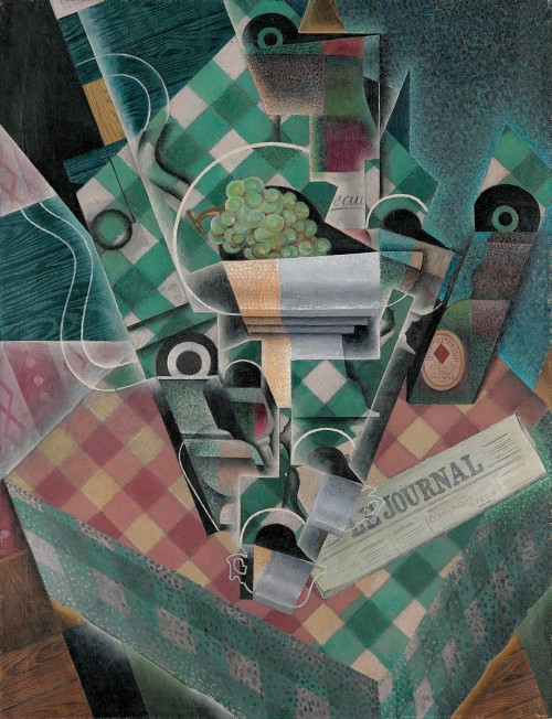 Juan Gris. Still Life with Checked Tablecloth, Paris, spring 1915. Oil on canvas, 45 7/8 x 35 1/8 in (116.5 x 89.2 cm). The Metropolitan Museum of Art, Leonard A. Lauder Cubist Collection.
