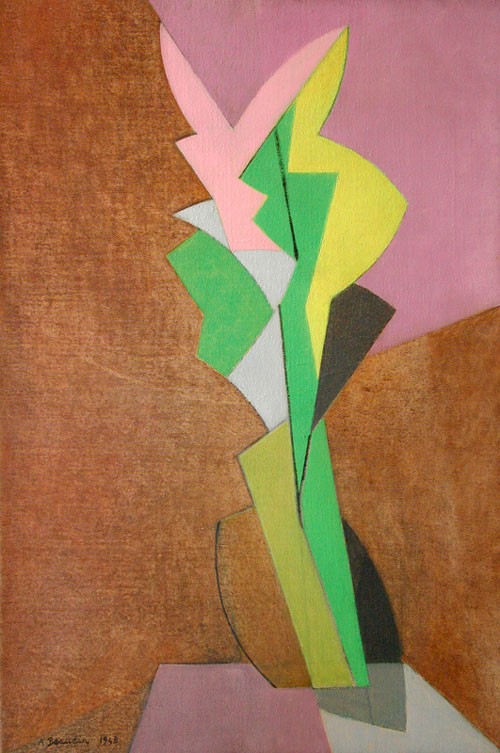 André Beaudin (1895-1979). Le Glaïeul Mauve, 1948. Oil on canvas, 81 x 54 cm (32 x 21 1/4 in), signed and dated lower left.