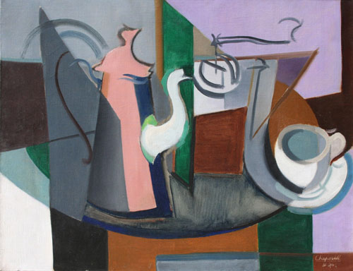 "Youla (Jules) Chapoval (1919-51). Nature Morte avec Cafetière. Oil on canvas, 50 x 65 cm (19¾ x 25½ in), signed and dated lower right, ""IV 1946""."
