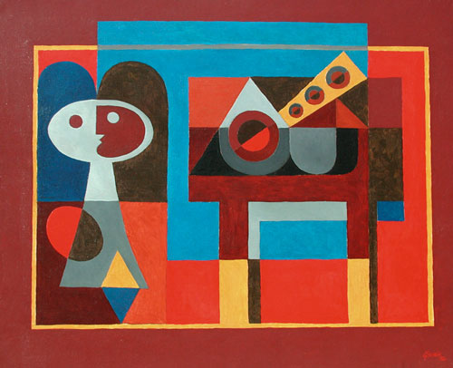 Léon Gischia (1903-1991). Figure et Guitare. Oil on canvas, 81 x 100 cm (32 x 39 ½ in), signed and dated lower right, 1954.