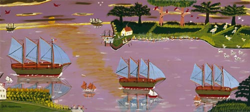 Earl Cunningham. <em>Blue Sail Fleet Returns</em>, after 1949. Oil on fibreboard. Smithsonian American Art Museum, Gift of Mr and Mrs Michael Mennello, 1988