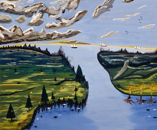Earl Cunningham. <em>Gathering Clouds off Little River Inlet,</em> 1962. Oil on fibreboard. Collection of Marilyn L and Michael A Mennello
