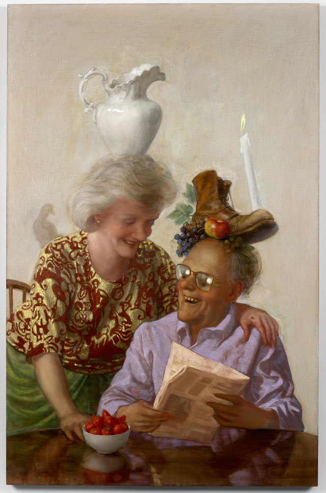 John Currin. Newspaper Couple, 2016. Oil on canvas, 173 x 112 x 4 cm. Copyright the Artist, Courtesy Sadie Coles HQ, London.