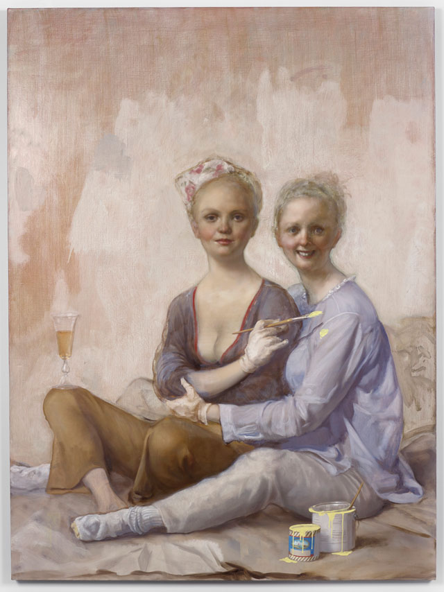 John Currin. Happy House Painters, 2016. Oil on canvas, 178 x 132.4 x 3.4 cm. Copyright the Artist, Courtesy Sadie Coles HQ, London.