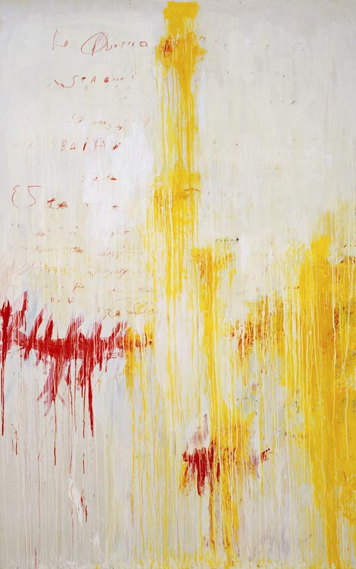 <strong>Cy Twombly, </strong><em>Quattro stagioni, Part II: Estate</em>, 1993-94. Synthetic polymer paint, oil, house paint, pencil and crayon on canvas 314.5 x 201cm. MoMA