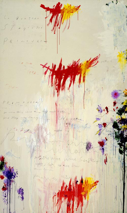 <strong>Cy Twombly</strong>, <em>Quattro stagioni, Part I: Primavera</em>, 1993-94. Synthetic polymer paint, oil, house paint, pencil and crayon on canvas 312.5 x 190 cm. MoMA