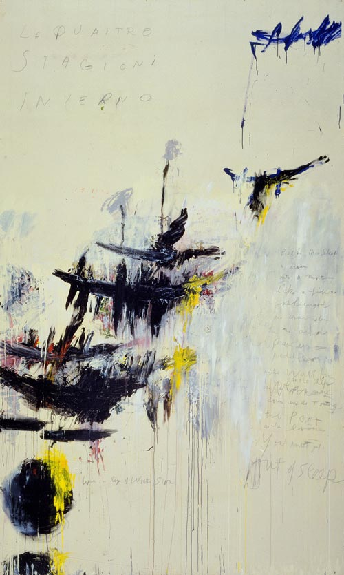 <strong>Cy Twombly, </strong>Quattro stagioni, Part IV: Inverno, 1993-94. Synthetic polymer paint, oil, house paint, pencil and crayon on canvas 313x 190.1 cm. MoMA