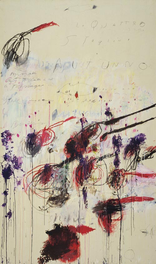 <strong>Cy Twombly, </strong><em>Quattro stagioni, Part III: Autunno</em>, 1993-94. Synthetic polymer paint, oil, house paint, pencil and crayon on canvas 313.7 x 189.9 cm. MoMA