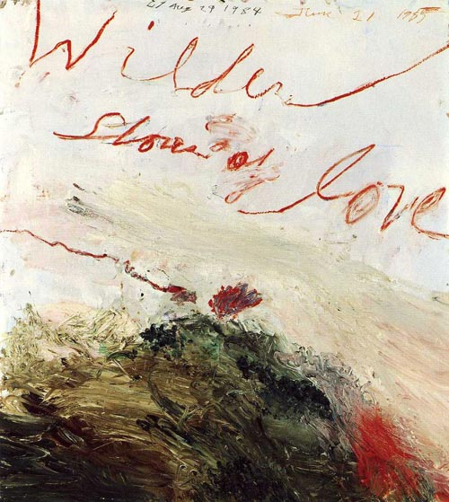 Cy Twombly. <em>Wilder Shores of Love (Bassano in Teverina),</em> 1985. Oil-based house paint, oil paint (paint stick), coloured pencil, lead pencil on wooden panel, 140 x 120 cm. Cy Twombly Collection © Cy Twombly