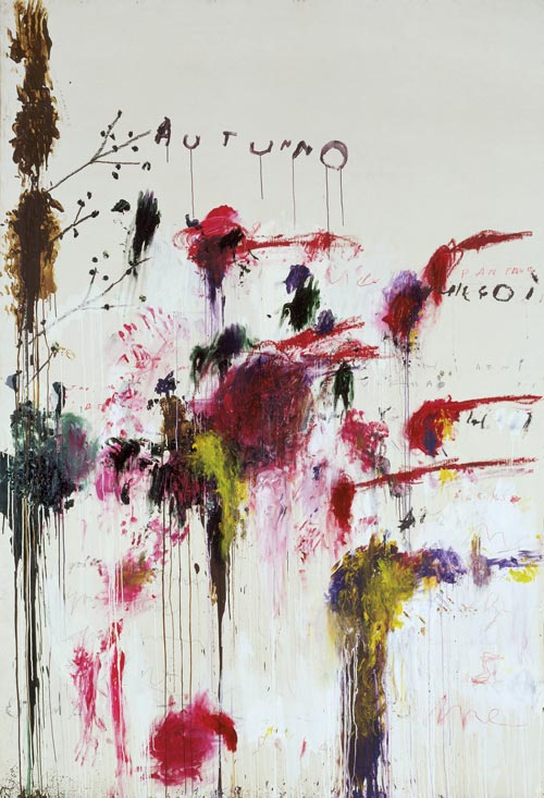 Cy Twombly. <strong><em>Quattro Stagioni: Autunno</em></strong><em>,</em> 1993-4 <em>from</em> Quattro Stagioni (A Painting in Four Parts). Acrylic, oil, crayon and pencil on canvas, support: 3136 x 2150 x 35 mm frame: 3230 x 2254 x 67 mm painting. Tate. Purchased with assistance from the American Fund for the Tate Gallery and Tate Members 2002. Copyright the artist