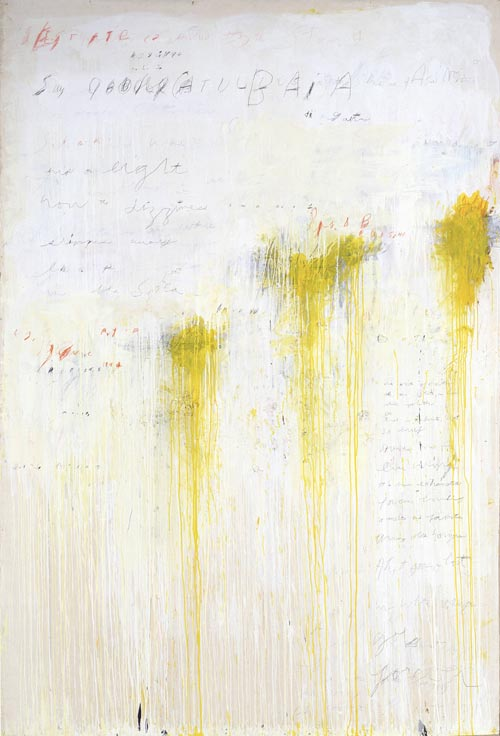 Cy Twombly. <strong><em>Quattro Stagioni: Estate</em></strong>, 1993-4 <em>from</em> Quattro Stagioni (A Painting in Four Parts). Acrylic and pencil on canvas support: 3141 x 2152 x 35 mm frame: 3241 x 2250 x 67 mm painting. Tate. Purchased with assistance from the American Fund for the Tate Gallery and Tate Members 2002. Copyright the artist