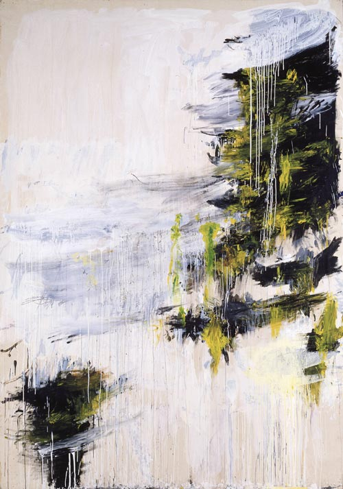 Cy Twombly. <strong><em>Quattro Stagioni: Inverno</em></strong> 1993-4 <em>from</em> Quattro Stagioni (A Painting in Four Parts) (T07887-T07890; complete). Acrylic, oil, and pencil on canvas support: 3135 x 2210 x 35 mm frame: 3229 x 2300 x 67 mm painting. Tate. Purchased with assistance from the American Fund for the Tate Gallery and Tate Members 2002. Copyright the artist