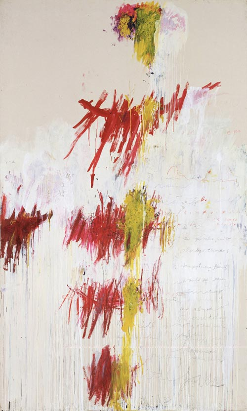 Cy Twombly. <em>Quattro Stagioni: Primavera</em>, 1993-4 <em>from</em> Quattro Stagioni (A Painting in Four Parts). Acrylic, oil, crayon, and pencil on canvas support: 3132 x 1895 x 35 mm frame: 3230 x 1996 x 67 mm painting. Tate. Purchased with assistance from the American Fund for the Tate Gallery and Tate Members 2002. Copyright the artist