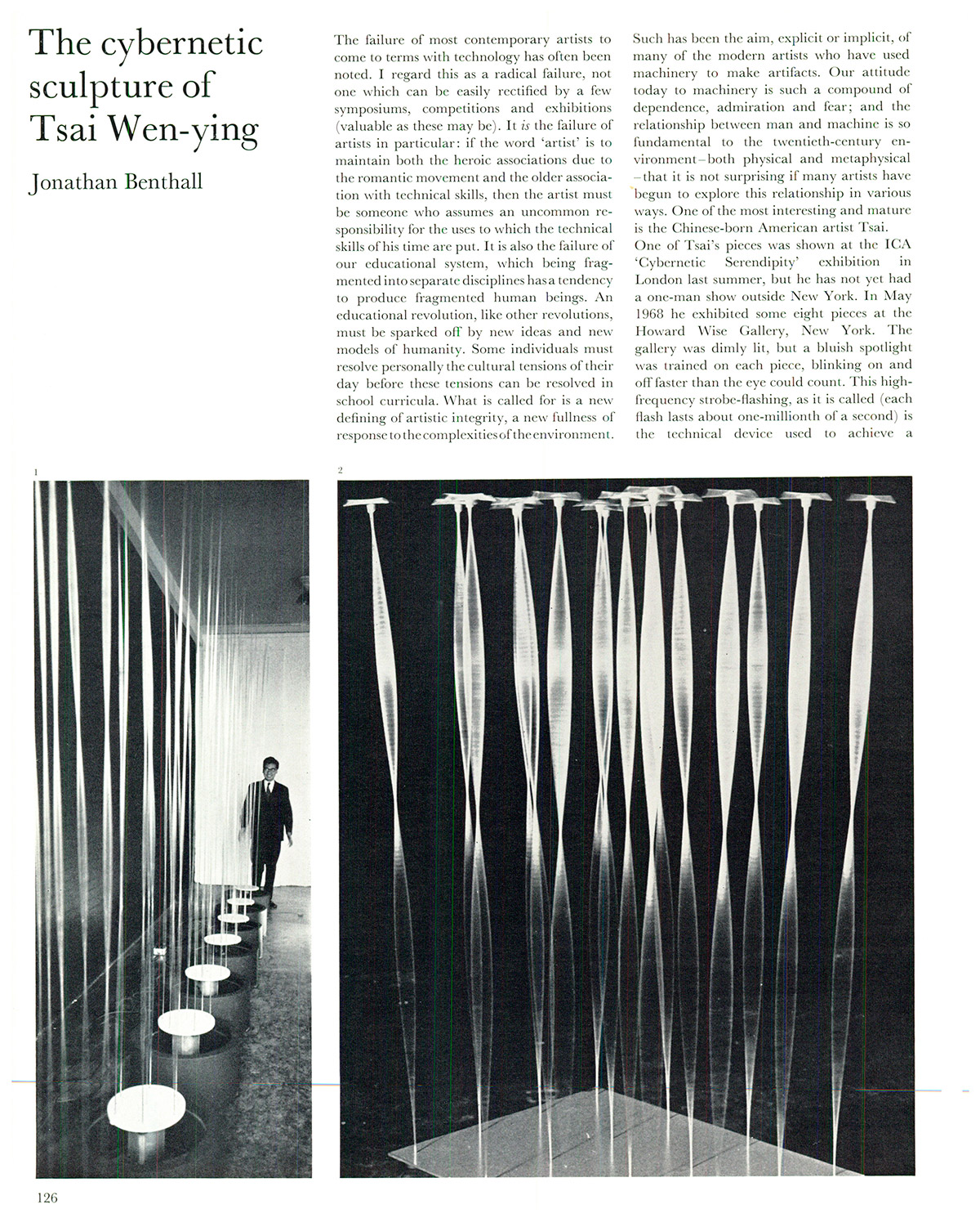 The cybernetic sculpture of Tsai Wen-ying. Studio International, Vol 177, No 909, March 1969. p. 126.