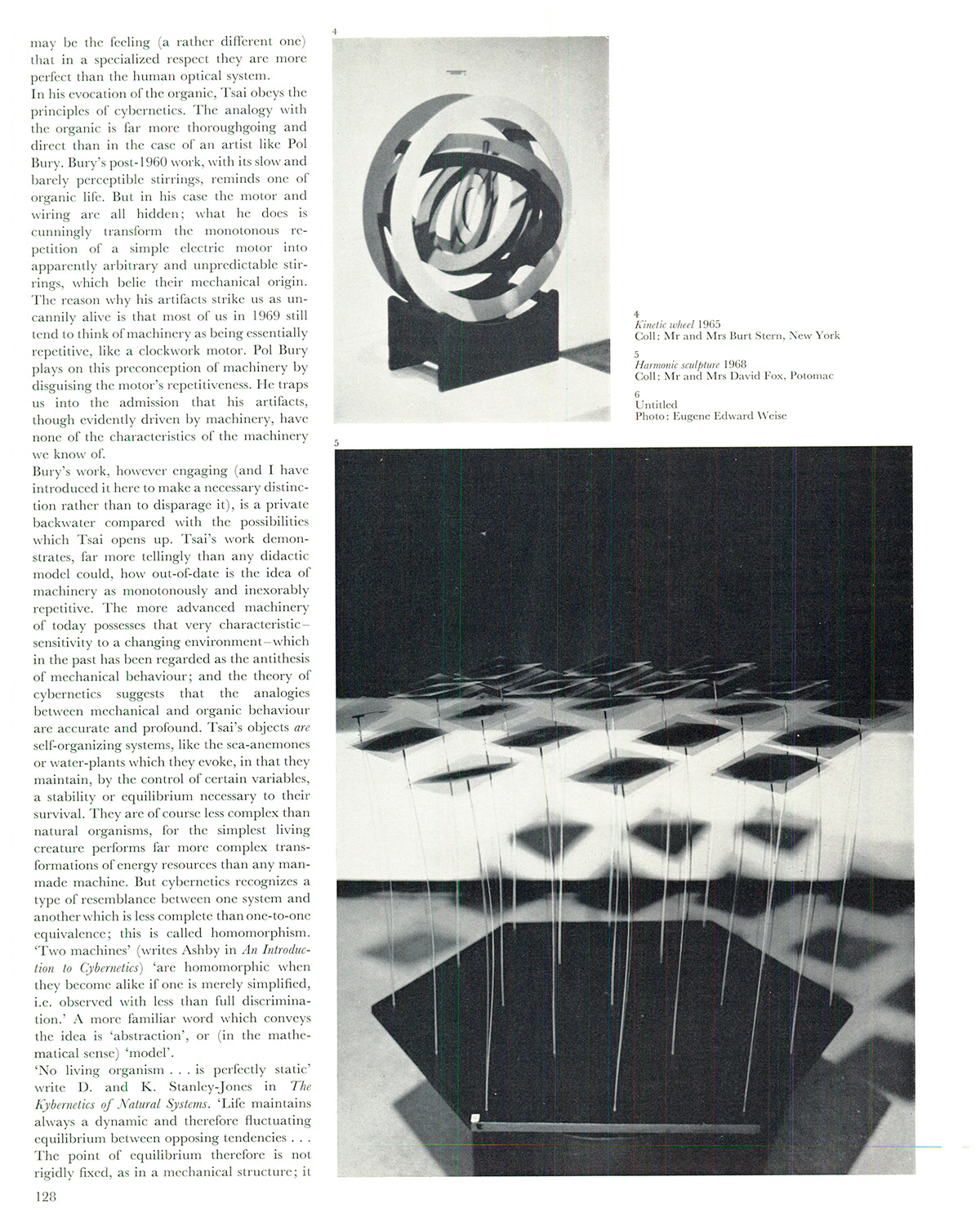 The cybernetic sculpture of Tsai Wen-ying. Studio International, Vol 177, No 909, March 1969. p. 128.