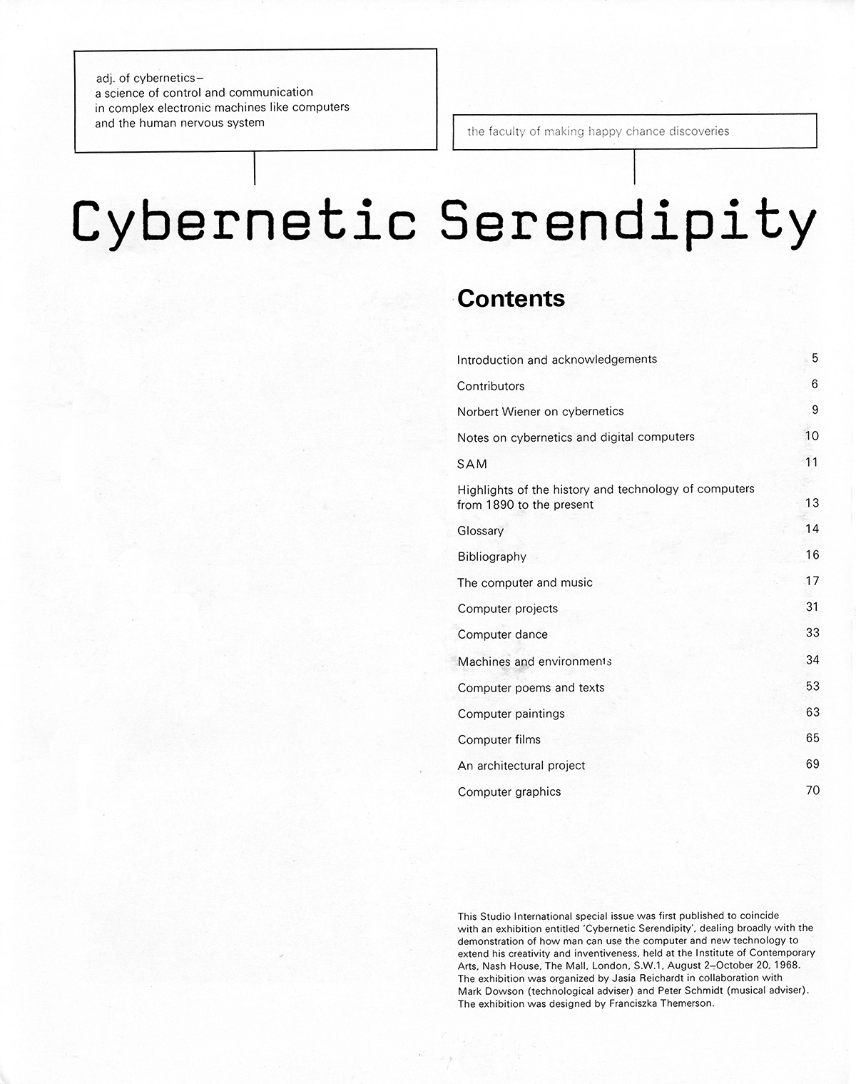 Cybernetic Serendipity: The Computer and the Arts, Studio International Special Issue, 1968, contents page.