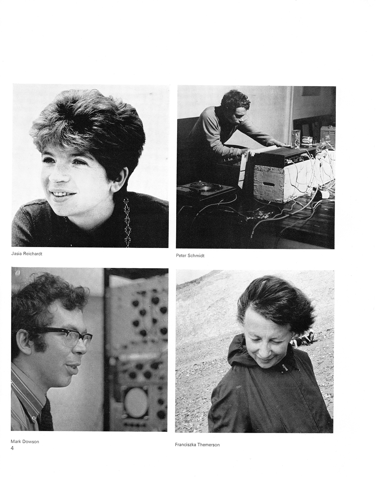 Cybernetic Serendipity: the computer and the arts. Page 4. Clockwise from top left: Jasia Reichardt, Peter Schmidt, Mark Dowson, Franciszka Themerson. Published by Studio International (special issue), 1968. © Studio International Foundation.