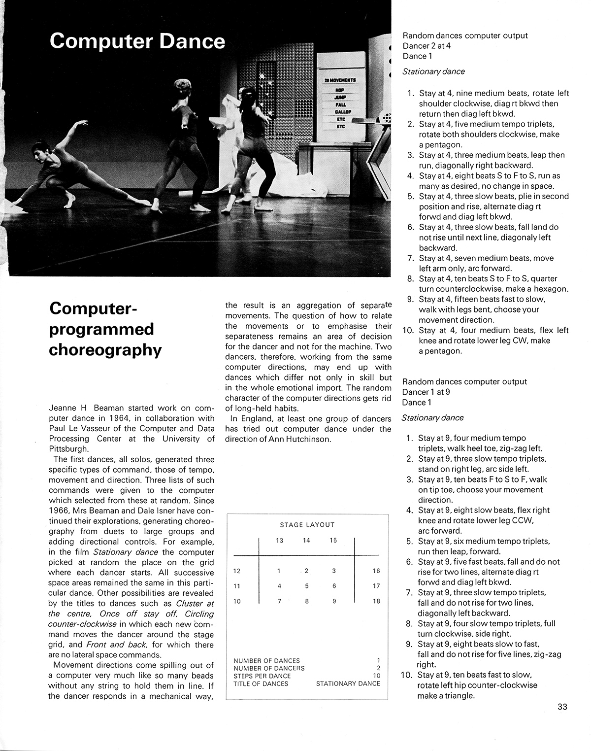 Computer Dance: Computer-programmed choreography. Cybernetic Serendipity: The Computer and the Arts, Studio International Special Issue, 1968, page 33.