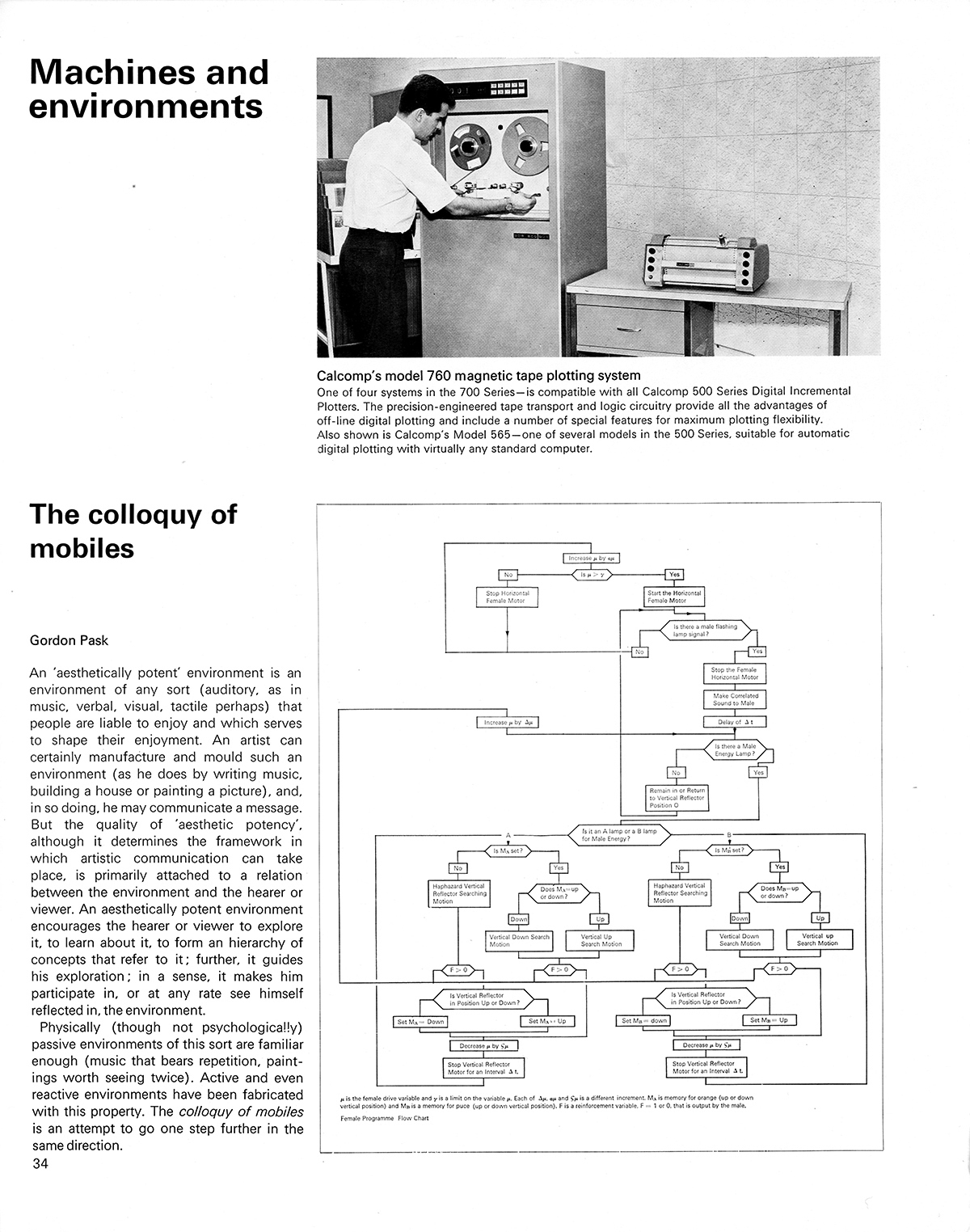 Machines and environments: The colloquy of mobiles by Gordon Pask. Cybernetic Serendipity: The Computer and the Arts, Studio International Special Issue, 1968, page 34.