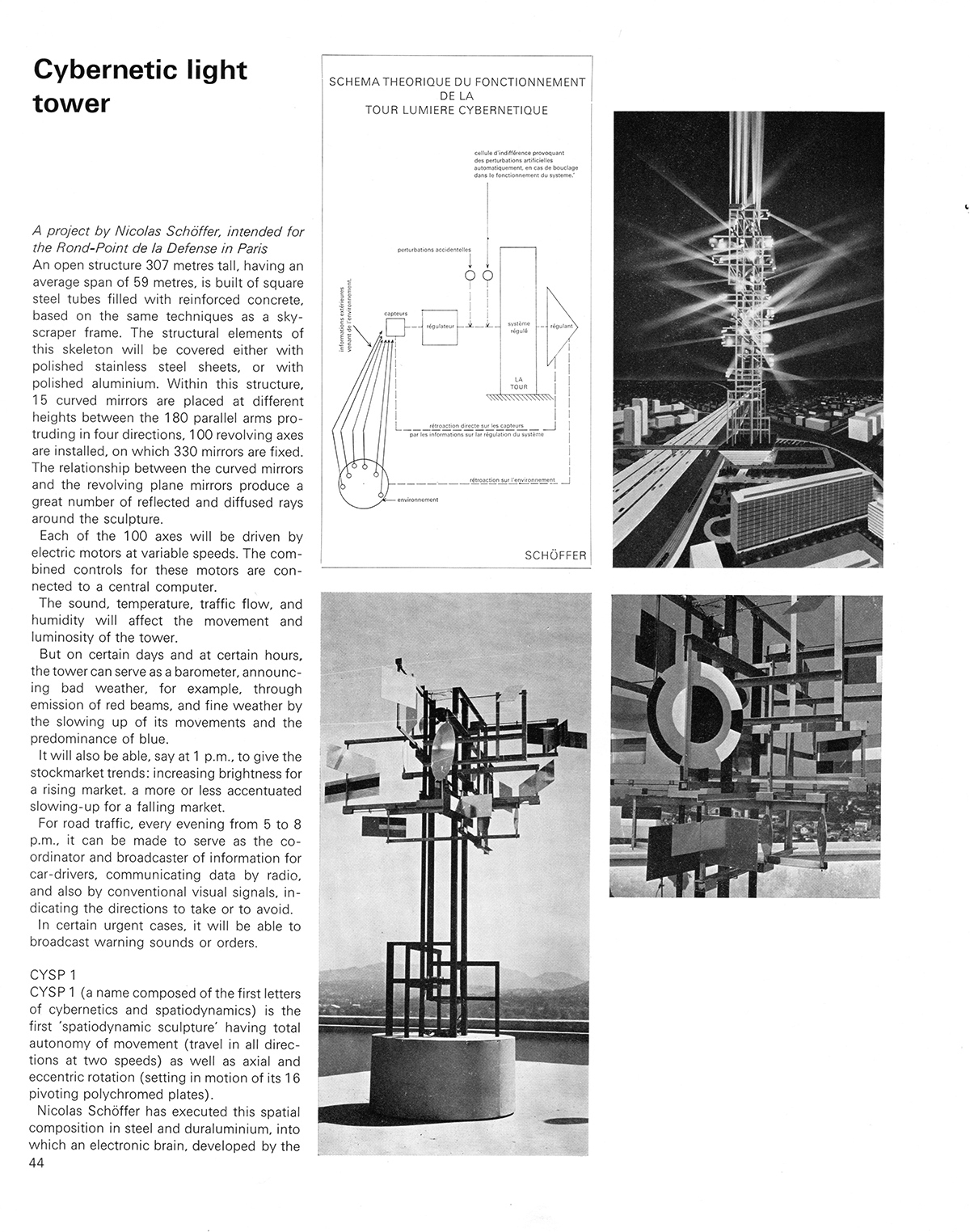 Cybernetic light tower. Cybernetic Serendipity: The Computer and the Arts, Studio International Special Issue, 1968, page 44.