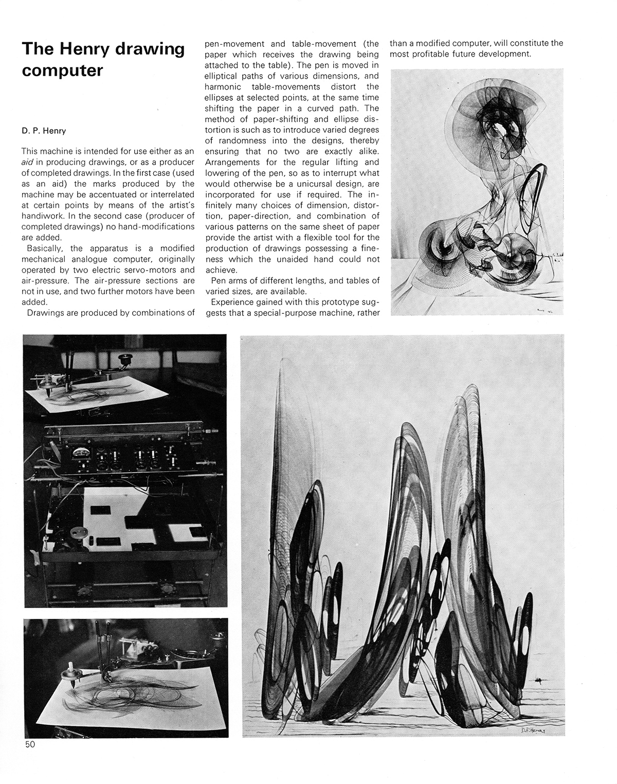The Henry drawing computer by D.P. Henry. Cybernetic Serendipity: The Computer and the Arts, Studio International Special Issue, 1968, page 50.