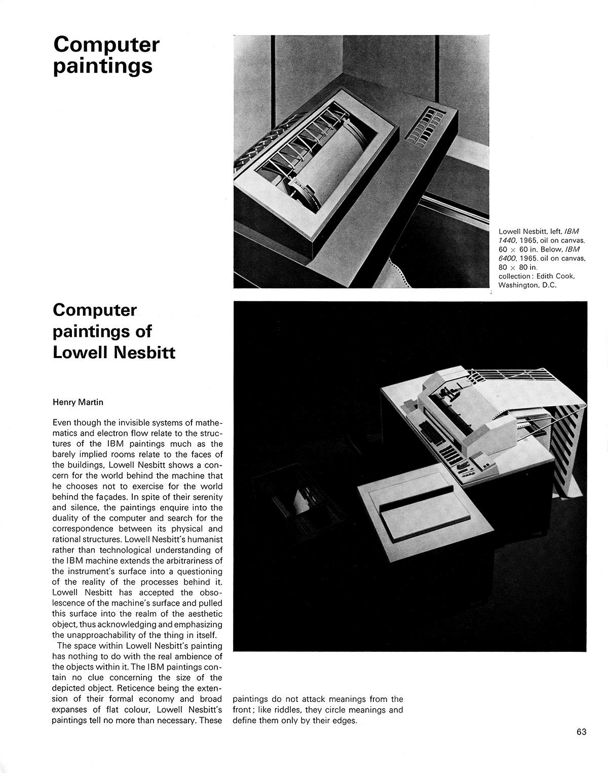 Computer paintings - Computer paintings of Lowell Nesbitt by Henry Martin. Cybernetic Serendipity: The Computer and the Arts, Studio International Special Issue, 1968, page 63.