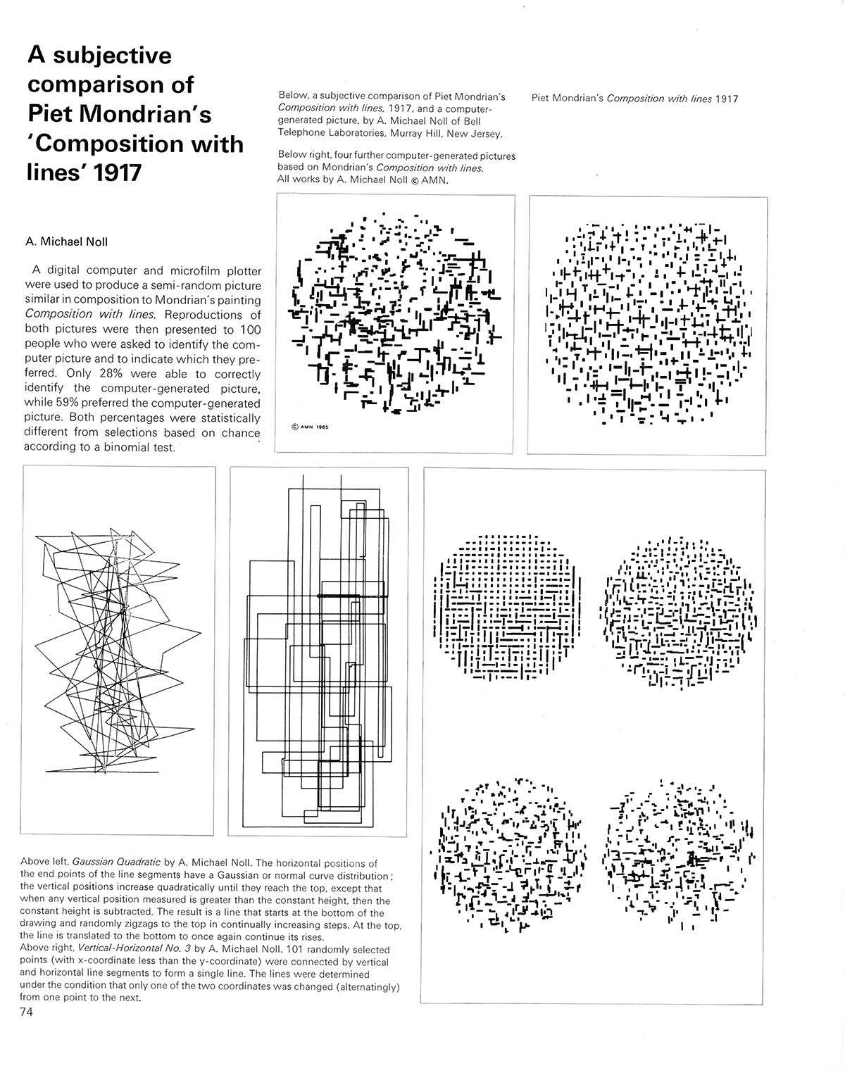 A subjective comparison of Piet Mondrian's 'Composition with lines' 1917 by A. Michael Noll. Cybernetic Serendipity: The Computer and the Arts, Studio International Special Issue, 1968, page 74.