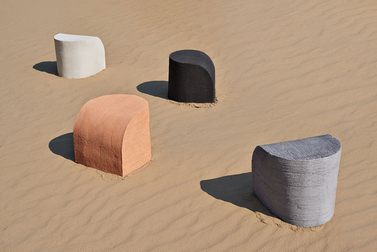Rino Claessens, Scraped Earth stools.
