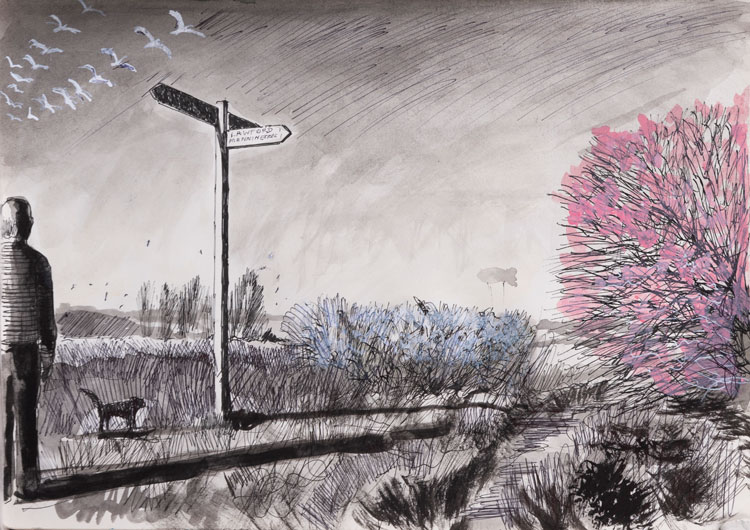 David Downes. Which Way Now, 2020. Pen, ink and acrylic on paper.