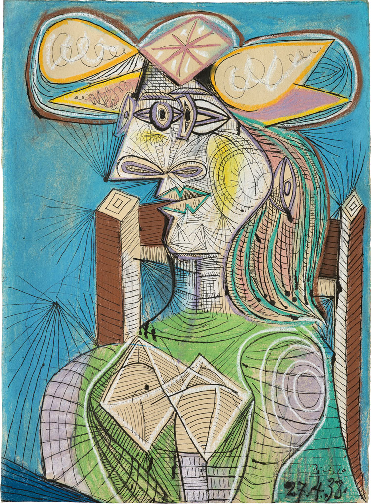 Pablo Picasso, Seated Woman (Dora), 1938. Ink, gouache and coloured chalk on paper, 76.5 x 56 cm. Fondation Beyeler, Riehen/Basel, Beyeler Collection. Photo: Peter Schibli. © Succession Picasso/DACS 2019.