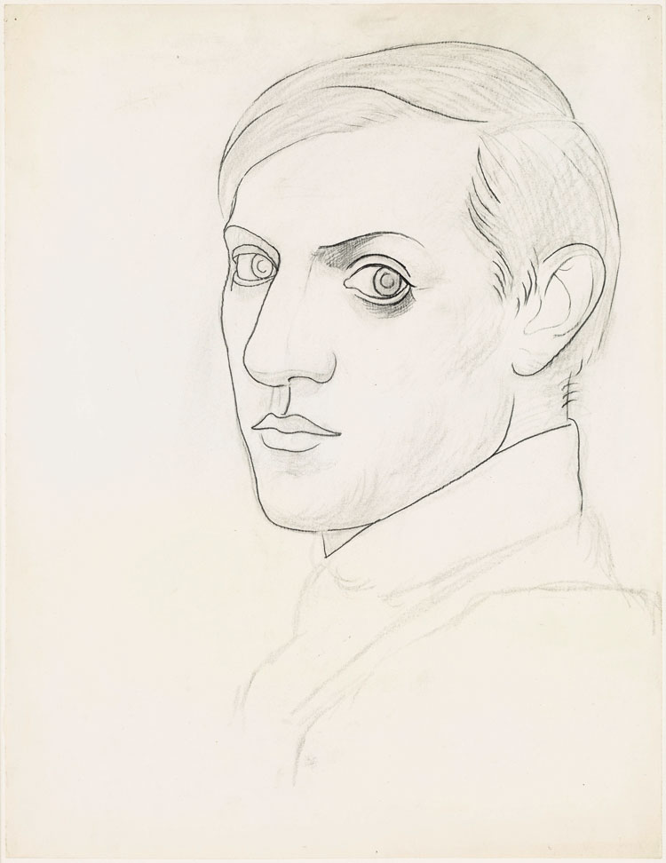 Pablo Picasso, Self-portrait, 1918. Pencil and charcoal on wove paper, 64.2 x 49.4 cm. Musée national Picasso-Paris. Pablo Picasso gift in lieu, 1979. MP794. Photo © RMN-Grand Palais (Musée national Picasso-Paris) / Mathieu Rabeau. © Succession Picasso/DACS 2019.