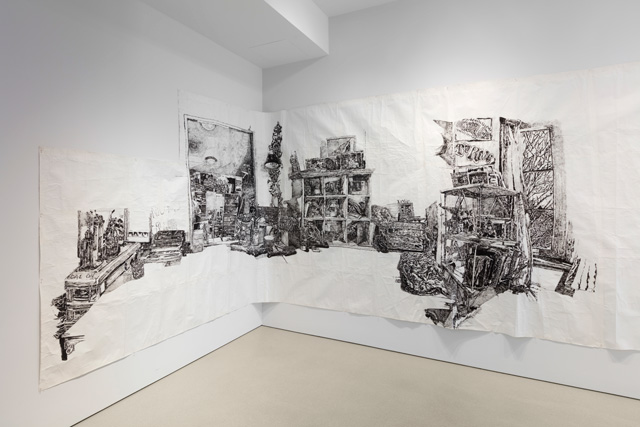 Dawn Clements, Callie and Schuler's (The Taft School), 2009, installation view, Drawn Together Again at The FLAG Art Foundation, 2019. Photo: Steven Probert.