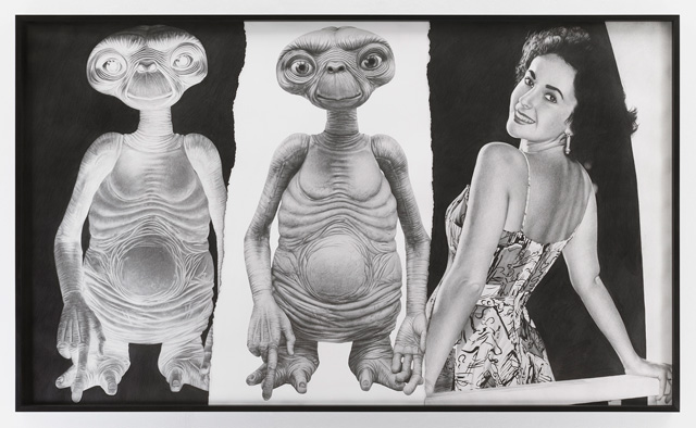 Karl Haendel, E.T./E.T./Elizabeth Taylor, 2018. Pencil on paper, 52 1/2 x 87 3/4 in. Courtesy the artist and Mitchell-Innes & Nash, NY.
