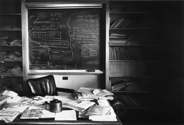 Robert Longo, Untitled (Einstein's Desk, The Day he Died, April 18, 1955), 2016. Ink and charcoal on mounted paper, 67 1/2 x 95 5/8 in. Courtesy the artist and Metro Pictures, NY.