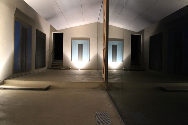 Robyn Denny: Paintings from the 1960s, night-time gallery view. Copyright the artist, courtesy the New Art Centre, Roche Court Sculpture Park.