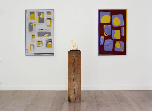 Neil Gall: The Studio – New Collages, Painting and Sculpture, installation view. Copyright the artist, courtesy the New Art Centre, Roche Court Sculpture Park.