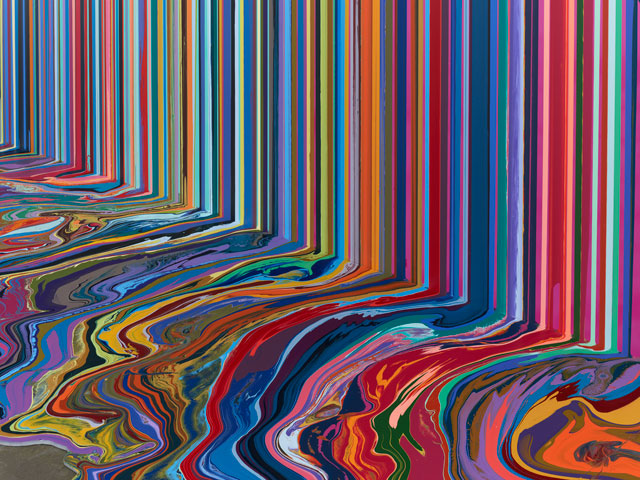 Ian Davenport. Mirrored Place, 2017 (detail). Acrylic on stainless steel mounted onto aluminium panel (with additional floor section), 118 1/8 x 157 1/2 in (300 x 400 cm). Courtesy Waddington Custot.