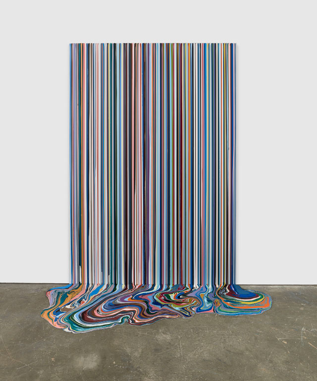 Ian Davenport. Olympia, 2018. Acrylic on aluminium mounted onto aluminium panel (with additional floor section), 114 1/4 x 78 3/4 in (290 x 200 cm). Courtesy Waddington Custot.