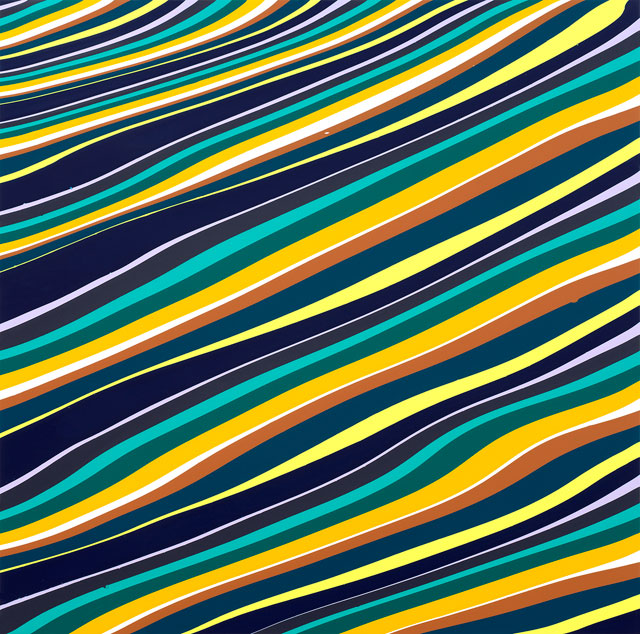 Ian Davenport. Delta, 2018. Acrylic on aluminium mounted onto aluminium panel, 31 1/2 x 31 1/2 in (79.8 x 79.8 cm). Courtesy Waddington Custot.