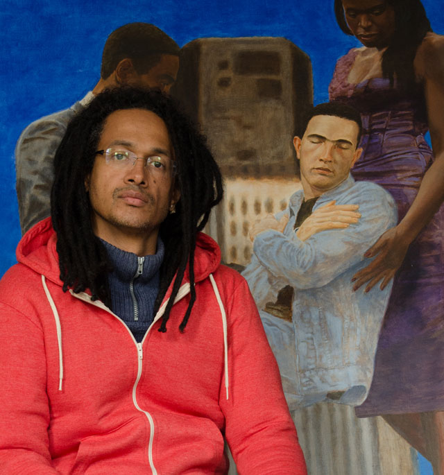 Kimathi Donkor with his painting Jean Charles De Menezes Borne Aloft By Joy Gardner And Stephen Lawrence, 2010, oil on linen, 190 x 160 cm. Photograph © Kimathi Donkor.