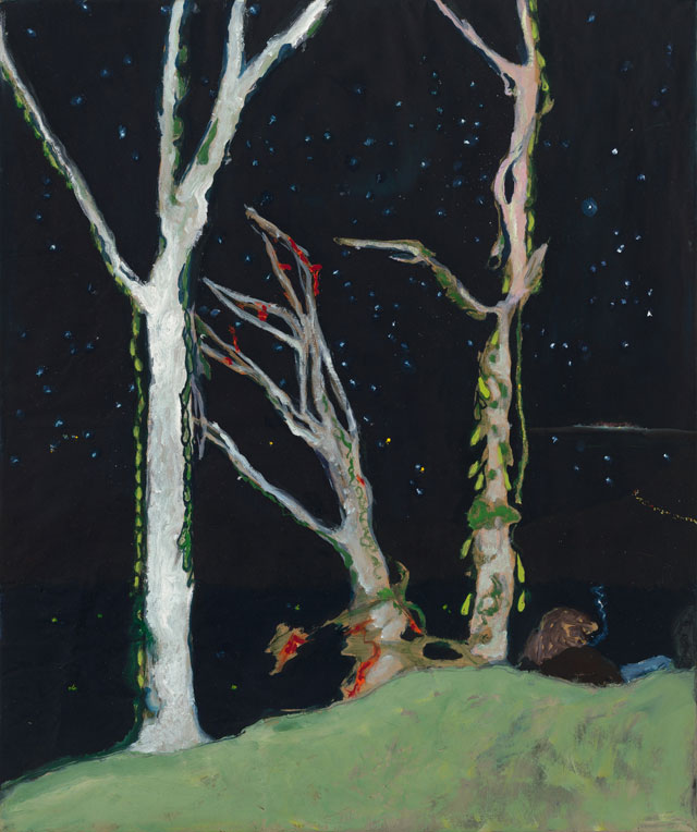 Peter Doig, Figures at Night, 2017. Oil on stretched kraft paper, 73.5 X 61.5 cm. Courtesy Michael Werner Gallery New York and London.